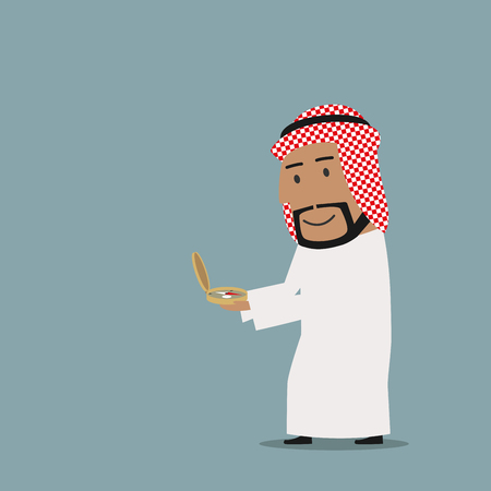 goal achievement: Business navigation, direction, way to success theme design. Smiling cartoon arab businessman is looking at vintage magnetic compass to find the way to success Illustration