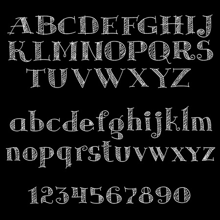 Chalk alphabet letters and numbers on blackboard with uppercase and lowercase letters, decorated by hatching, sketch style. Chalk serif font or type for education, menu and typography design