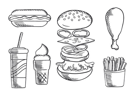 onion rings: Fast food dinner menu isolated sketch icons of cheeseburger with beef patty, cheese, peppers, onion rings and lettuce, hot dog, fried chicken leg, french fries, soda cup and ice cream