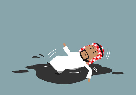 slipped: Oil price falling and oil industry crisis business concept. Cartoon arabian businessman slipped and fallen down into black crude petroleum puddle