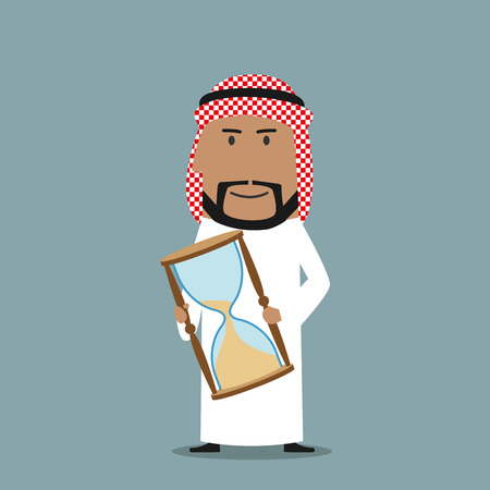 time out: Time is running out, time management or deadline business concept. Smiling cartoon arabian businessman showing hourglass with the end of time period