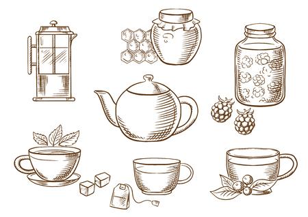 Geschetst thee pictogrammen met potten, honing en frambozen jam, Franse pers, verschillende theekopjes met theezakje, suikerklontjes, verse bladeren van munt en vossebes met porseleinen theepot. vector schets Vector Illustratie