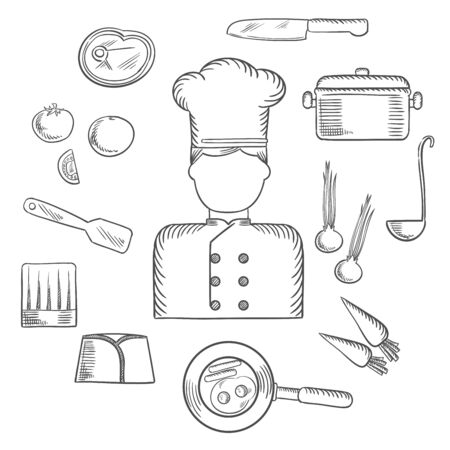 ladle: Chef profession sketched icons with cook in uniform surrounded by fresh tomato, onion and carrot, pan with eggs and bacon, knife, saucepan with ladle, meat steak, chef hats and spatula. Vector sketch