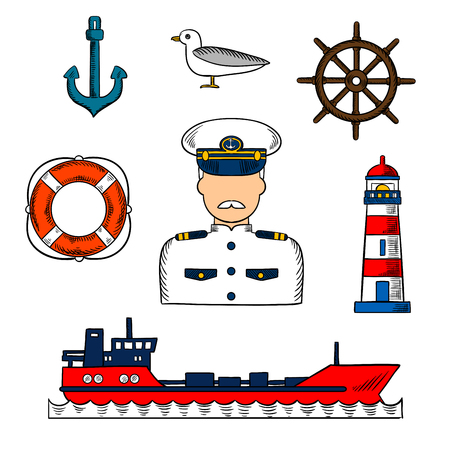 white uniform: Sailor or captain profession infographic elements with moustached captain in white uniform, helm, tanker ship, anchor and lifebuoy, lighthouse and seagull icons. Colorful vector sketch