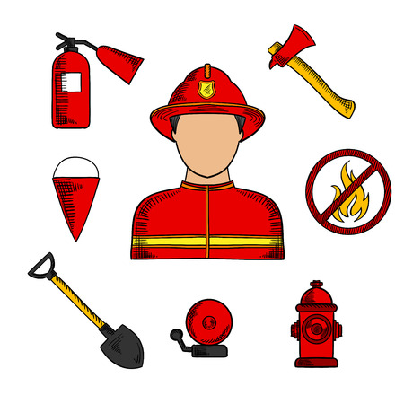 flanked: Firefighter or fireman profession  icons with man in red protective helmet and suit, flanked by fire axe, conical bucket and shovel, extinguisher and fire alarm, hydrant and prohibition sign. Vector color sketch icons Illustration