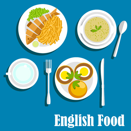 fried fish: English cuisine main dishes served with whole fried fish, french fries and sauce, green pea soup, muffin egg sandwiches with herbs. Flat style Illustration