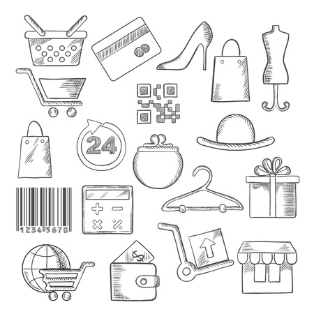delivery box: Shopping, business and commerce icons with black and blue shopping carts, basket and bags, bank credit card, wallets, money, delivery, barcode, store, qr code, gift box, 24 hours sign, calculator, shoes, hat