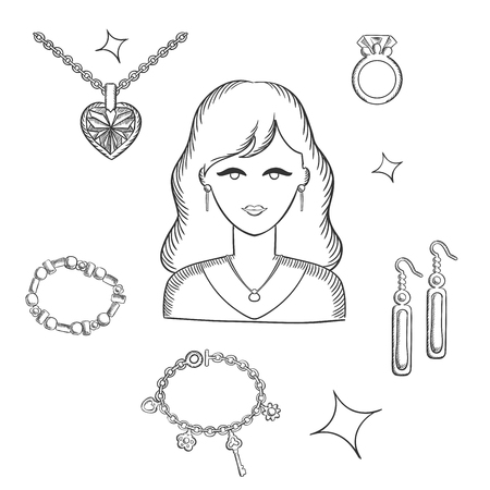 fashion jewelry: Jewelry and fashion sketch design with pretty brunette woman surrounded fashion gold with gemstones