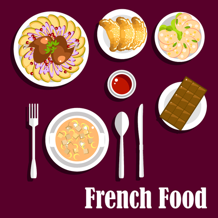 french cuisine: Delicious french cuisine menu with mushroom cream soup with croutons, croissants with jam, dry cured pork sausage, chicken legs with potatoes and onion rings and bar of chocolate