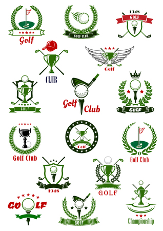 Golf sport game icons and symbols with ribbons, banners, golf club and ball, sport trophy, laurel wreath and shields. For golf sport tournament design Illustration