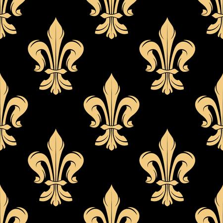 lily flower: Vintage golden royal fleur-de-lis seamless pattern of elegant floral scrolls on black background. Luxury wallpaper or medieval stylized interior design usage