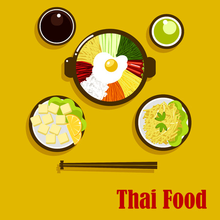 Individual dishes of thai cuisine with fried egg, served in a big bowl with vegetables sticks and rice, soy and green chilli sauces, fried sweet potatoes and coconut dessert with oranges
