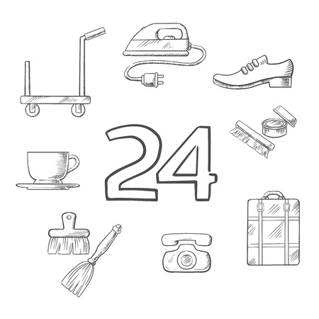 sketched icons: Hotel and room service sketched icons with tea cup, iron, shoe cleaning and breakfast, timer, baggage and room cleaning. Vector sketch Illustration