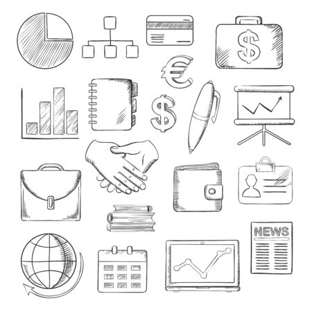 sketched icons: Business, finance and office sketched icons with financial reports, money, handshake and chart, briefcases and laptop, news and globe, calendar, pen and organizer. Vector sketch illustration