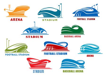 deporte: Construcciones deportivas iconos con los edificios públicos de fútbol, ??fútbol, ??baloncesto, béisbol y competición deportiva de hockey sobre hielo. Iconos de la arena de deporte o elemento de diseño de la arquitectura