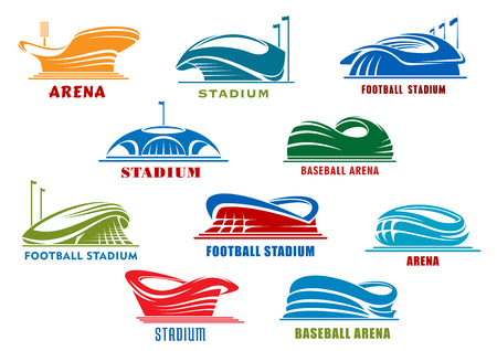 sports: Sport stadiums icons with public buildings of football, soccer, basketball, baseball and ice hockey sporting competition. Sport arena icons or architecture design element