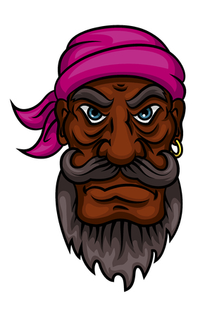 earring: Dangerous pirate captain or sailor cartoon character with curled mustache and beard, wearing bandanna and gold earring. Use as halloween party, t-shirt print or marine design