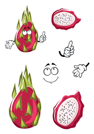 pitahaya: Exotic asian cartoon dragon fruit with pink smooth peel, green leaves and white pulp. Happy pitaya fruit character for asian cuisine, tropical dessert  or recipe design Illustration
