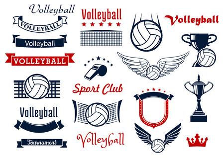 날개 달린 공, 배구 네트, 심판의 휘슬과 트로피, 레트로 리본 배너, 별, 중세 방패와 왕관과 함께 배구 스포츠 게임 디자인 요소입니다. 스포츠 기호 또