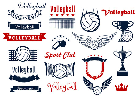 net: Volleyball sports game design elements with winged balls, volleyball net, referee whistle and trophies, retro ribbon banners, stars, medieval shield and crown. For sport symbols or icons design