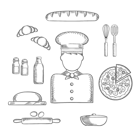 pizza dough: Baker profession sketch icons with chef in toque, pizza, baguette and croissant, milk and eggs, dough and chopping board, cutlery and salt, pepper and pot. Vector sketch