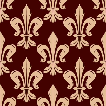 victorian wallpaper: Victorian heraldic floral seamless pattern for royal backdrop, wallpaper or interior design with beige fleur-de-lis ornament on maroon background