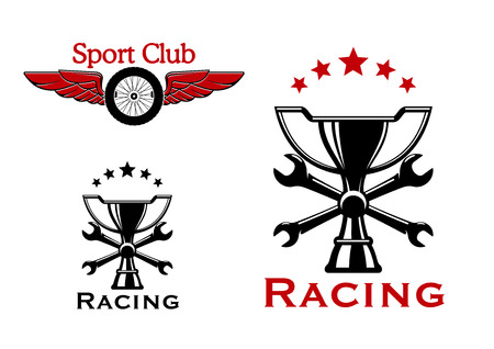 stars and symbols: Winged wheel of race car and trophy cup with crossed spanners and stars on the background. Racing sports and or motorsport icons or symbols