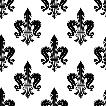 victorian wallpaper: Antique french fleur-de-lis seamless pattern with elegant black flowers in victorian style on white background. Use as interior, textile, wallpaper or fashion design