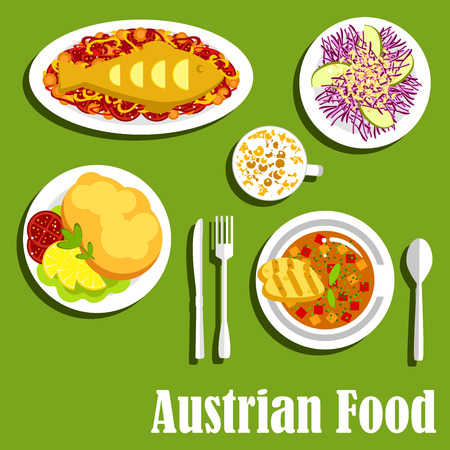 Viennese popular dishes of austrian cuisine with fish and vegetables, fluffy egg souffle, red cabbage salad with apples, goulash soup with bread and coffee with foamed milk