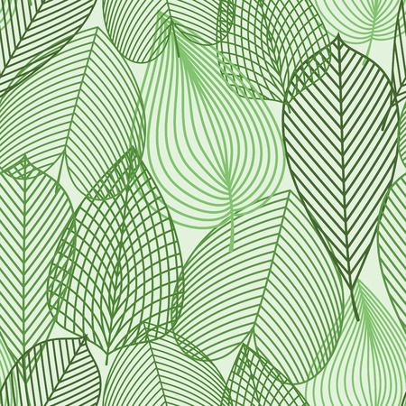 elm: Outline silhouettes of spring green leaves seamless pattern. For nature, background or wallpaper design with birch, chestnut and elm leaves
