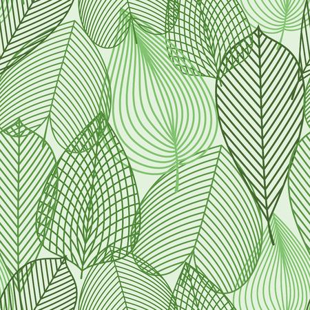 siluetas de esquema de primavera verde deja sin fisuras patrón. Por naturaleza, el fondo o fondos de escritorio de diseño con hojas de abedul, castaños y olmos