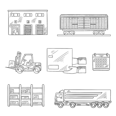building trade: Delivery and storage service icons in sketch style with warehouse building, freight wagon, cargo truck, forklift truck, storage rack, calendar and hands with cardboard box. Vector sketch