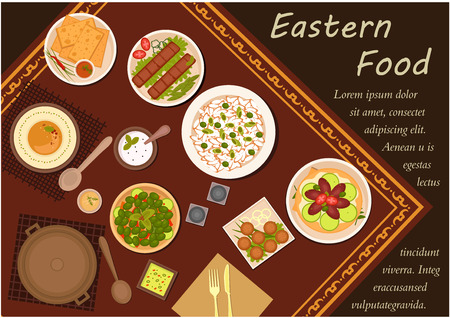 brown rice: Arabian cuisine flat icons of festive table with kebab, falafels, pita bread with dipping sauces, hummus, rice, pickled green olives and lahmacun with meat and vegetables