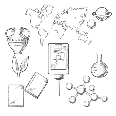 amphora: Education and science sketch icons with books and plant, tablet and amphora, flask or tube, earth map and molecule structure Illustration