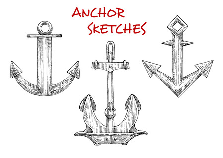 flukes: Sketch icons of vintage boat anchors with heavy stockless anchor and admiralty anchors with curved flukes. Use as navy emblem, tattoo or t-shirt print design Illustration