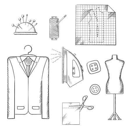 spool: Tailor tools and accessories sketched icons set with man costume on a hanger, mannequin, cloth and scissors, iron and thread spool, needles and buttons. Sketch vector Illustration
