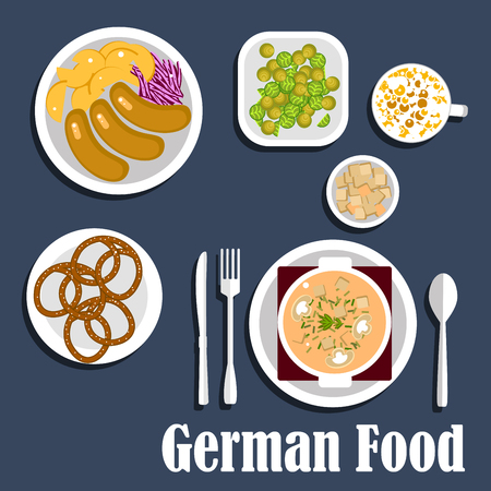 german food: Traditional national food of german cuisine with mushroom cream soup with croutons, sausages served with fried potatoes and red cabbage, roasted brussel cabbage sprouts, pretzels, coffee with milk
