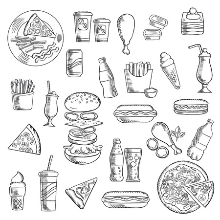 Fast food snacks and takeaway drinks icons including pizza, burger, hot dogs, french fries with sausage and sauce cups, fried chicken legs, cups of coffee, soda, ice cream cones, cakes and milk cocktails. Sketch vector