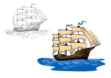 old ship: Full rigged old sailing ship at sea waves. Sketch for marine journey, regatta or travel design usage