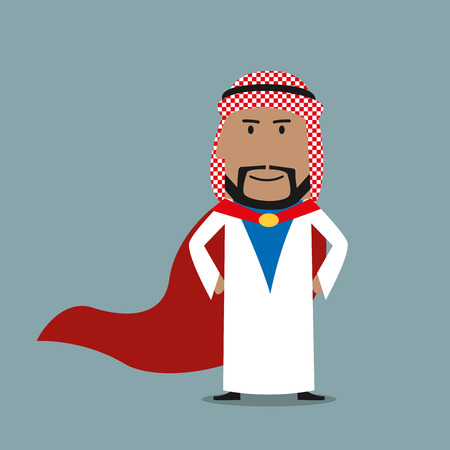 national hero: Confident smiling cartoon strong arabian businessman wearing white arabian national garment and red cape. Famous businessman, business hero or leadership concept usage