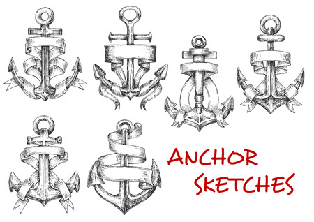 iron ribbon: Old heraldic anchors with wavy ribbon banner or paper scroll. Sketch style. Nautical heraldry, marine, journey and adventure design usage