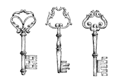 passkey: Vector sketches of old medieval key skeletons, isolated on white. For medieval history, tattoo or embellishment design