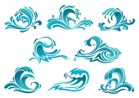 marine environment: Decorative blue sea waves and surf icons with curls of powerful water stream, splashes and white foam caps. May be used in nature, marine journey or travel theme