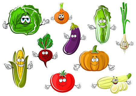 cartoon tomato: Vector healthy veggies characters for healthy nutrition, agriculture, harvest and vegetarian food design Illustration