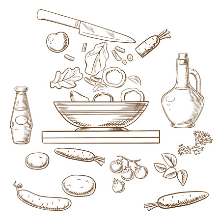 cooking oil: Cooking salad process showing bowl with sliced fresh vegetables surrounded by whole carrots, cucumber, tomatoes, potatoes, spicy herbs, bottles of olive oil and soy sauce. Vector sketch