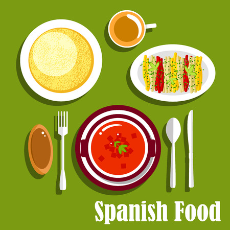raw egg: Traditional vegetarian dinner of spanish cuisine icon with tomato gazpacho cold soup with vegetables, tortilla egg omelet, fresh bell pepper sticks with herbs, bread roll and hot chocolate. Flat style