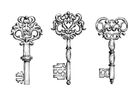 old padlock: Vintage keys sketch icons for tattoo or medieval stylized design. Ornate old skeleton keys, decorated by curly forged ornaments