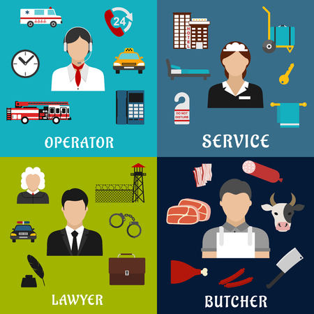 court room: Call-center operator, lawyer, maid and butcher professions icons with flat symbols of hotel services, meat products, justice and law, customer and emergency services Illustration