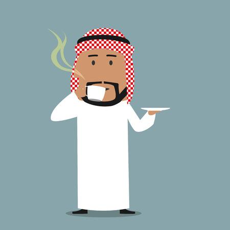 hombre tomando cafe: Relajado sonriente de la historieta �rabe empresario disfrutar de una taza de caf� reci�n hecho. Coffee break, almuerzo de negocios o el concepto de relajaci�n
