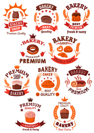 swiss insignia: Bakery and pastry shop symbols of premium quality bread, buns, cakes, cupcakes, donut, pies.Decorated by cereal wheat ears, ribbons and banners, stars and crowns